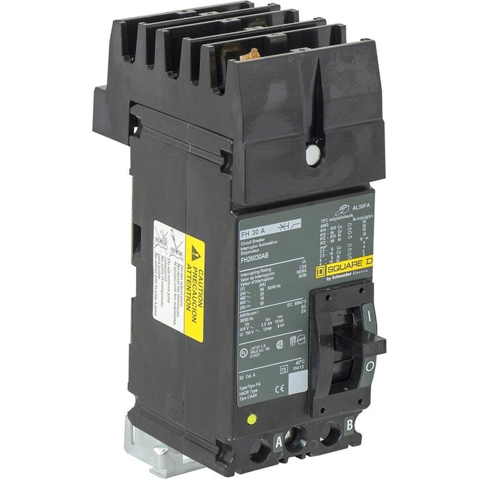 FH26030AB - Square D 30 Amp 2 Pole 600 Volt Molded Case Circuit Breaker