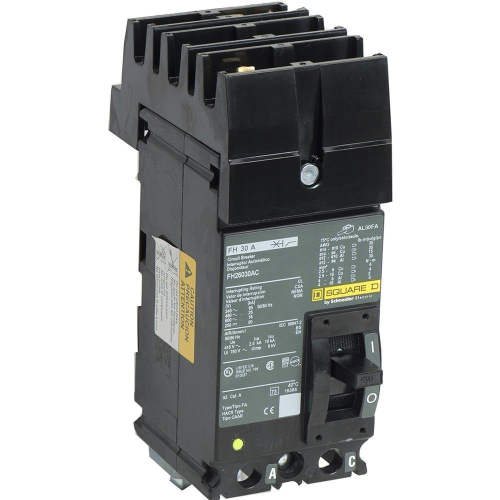 FH26030AC - Square D 30 Amp 2 Pole 600 Volt Molded Case Circuit Breaker