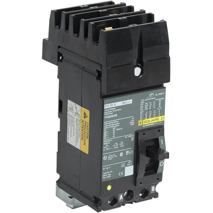 FH26050AB - Square D 50 Amp 2 Pole 600 Volt Molded Case Circuit Breaker
