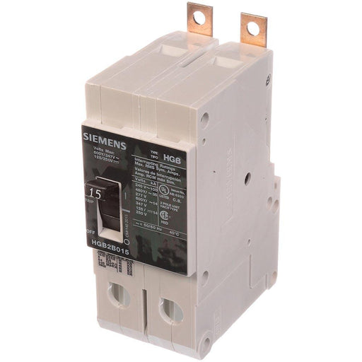 HGB2B015B - Siemens 15 Amp 2 Pole 600 Volt Bolt-On Molded Case Circuit Breaker