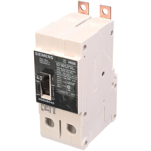 HGB2B040B - Siemens 40 Amp 2 Pole 600 Volt Bolt-On Molded Case Circuit Breaker