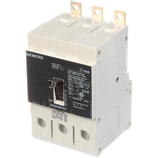 HGB3B020B - Siemens 20 Amp 3 Pole 600 Volt Bolt-On Molded Case Circuit Breaker
