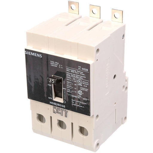 HGB3B035B - Siemens 35 Amp 3 Pole 600 Volt Bolt-On Molded Case Circuit Breaker