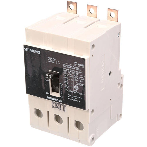 HGB3B050B - Siemens 50 Amp 3 Pole 600 Volt Bolt-On Molded Case Circuit Breaker