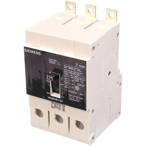 HGB3B125B - Siemens 125 Amp 3 Pole 600 Volt Bolt-On Molded Case Circuit Breaker