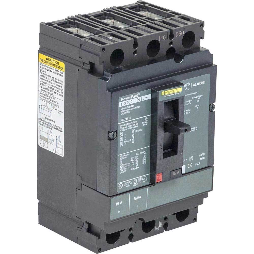 HGL36015 - Square D 15 Amp 3 Pole 600 Volt Molded Case Circuit Breaker