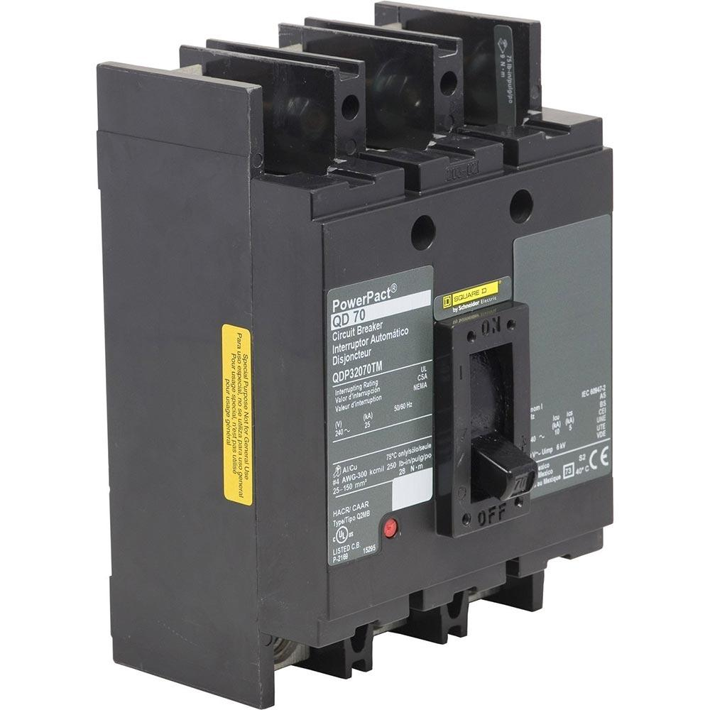 QDP32070TM - Square D 70 Amp 3 Pole 240 Volt Molded Case Circuit Breaker
