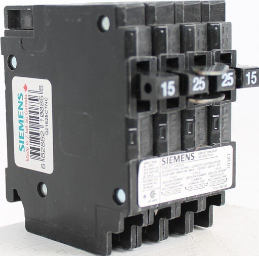 Q21525CTNC - Siemens Space Saver Quad Two 15 Amp Single Pole & One 25 Amp Double Pole Non-Current Limiting Circuit Breaker