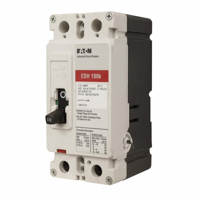EDH2175L - Eaton Cutler-Hammer 175 Amp 2 Pole 240 Volt Molded Case Circuit Breakers