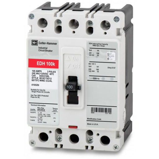 EDH3100L - Eaton Cutler-Hammer 100 Amp 3 Pole 240 Volt Molded Case Circuit Breakers