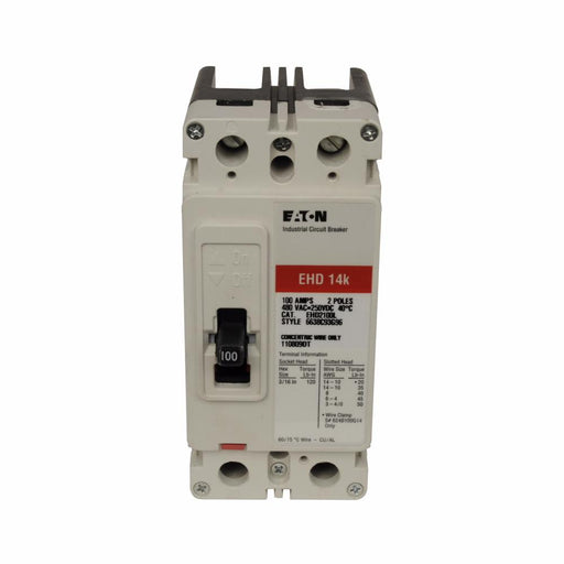 EHD2100L - Eaton Cutler-Hammer 100 Amp 2 Pole 480 Volt Molded Case Circuit Breaker