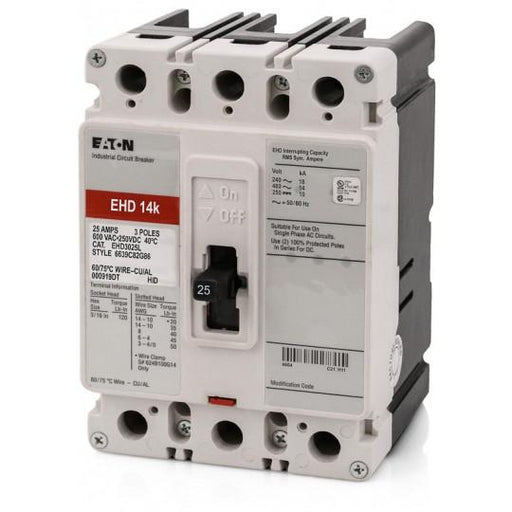 EHD3025L - Eaton Cutler-Hammer 25 Amp 3 Pole 480 Volt Molded Case Circuit Breaker