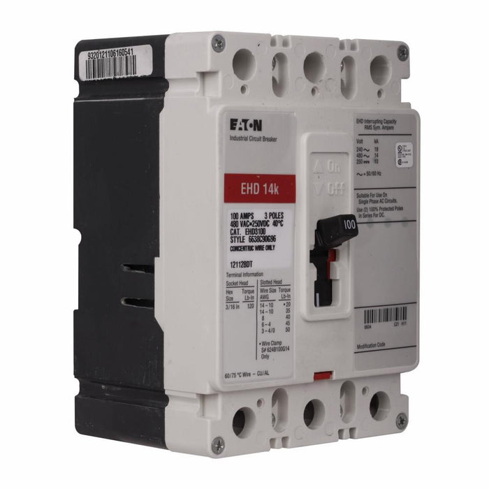EHD3080L - Eaton Cutler-Hammer 80 Amp 3 Pole 480 Volt Molded Case Circuit Breaker