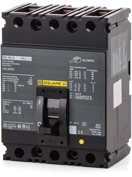 FAL36050 - Square D 50 Amp 3 Pole 600 Volt Lug Molded Case Circuit Breaker