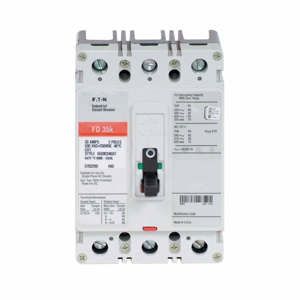 FD3015L - Eaton Cutler-Hammer 15 Amp 3 Pole 600 Volt Molded Case Thermal Magnetic Circuit Breaker
