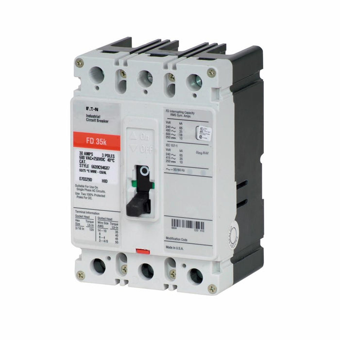 FD3025L - Eaton Cutler-Hammer 25 Amp 3 Pole 600 Volt Molded Case Thermal Magnetic Circuit Breaker