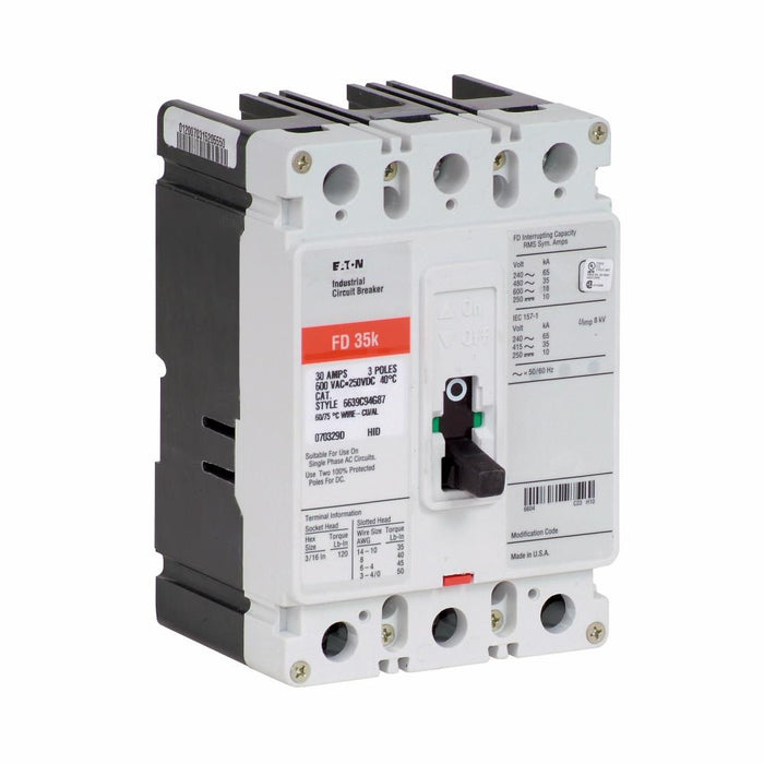 FD3050L - Eaton Cutler-Hammer 50 Amp 3 Pole 600 Volt Molded Case Thermal Magnetic Circuit Breaker