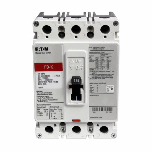 FD3225L - Eaton Cutler-Hammer 225 Amp 3 Pole 600 Volt Molded Case Thermal Magnetic Circuit Breaker