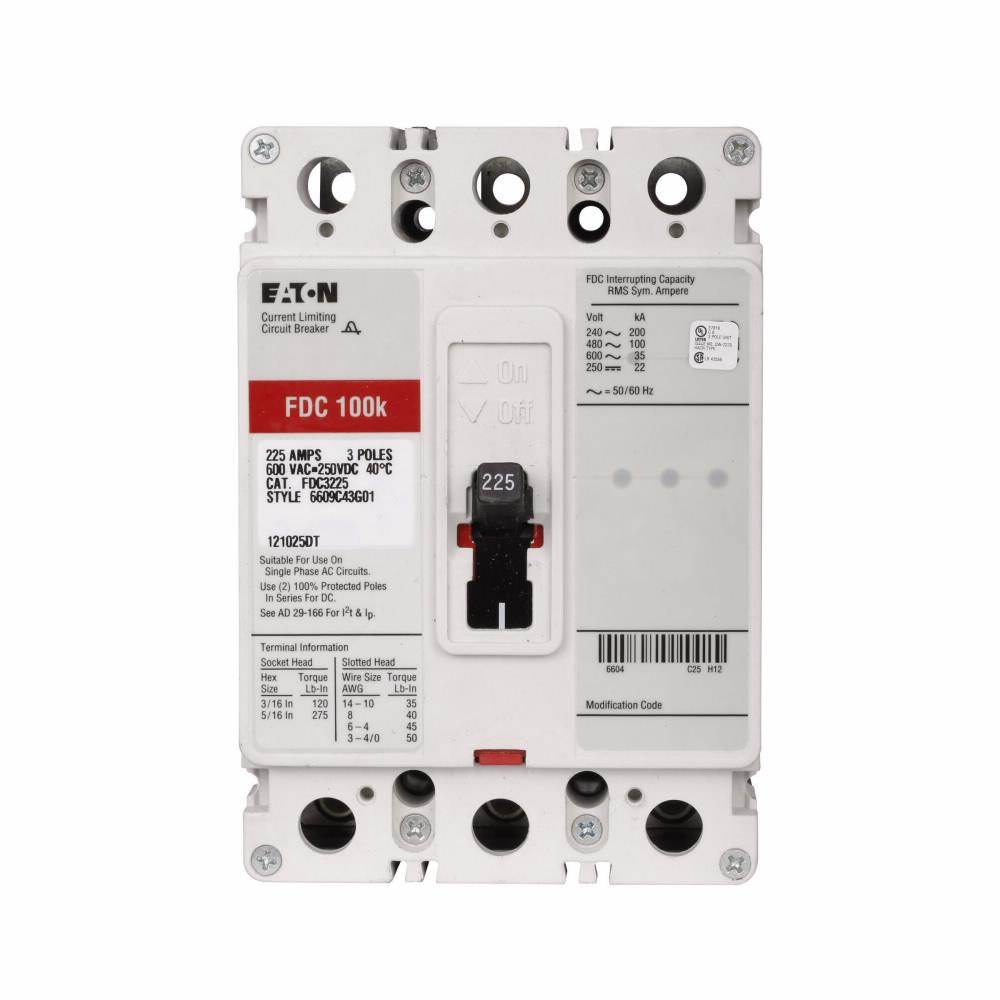 FDC3025L - Eaton Cutler-Hammer 25 Amp 3 Pole 600 Volt Molded Case Circuit Breaker