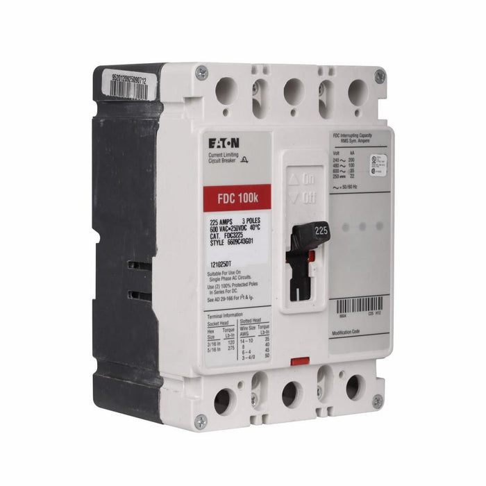 FDC3225L - Eaton Cutler-Hammer 225 Amp 3 Pole 600 Volt Molded Case Circuit Breaker