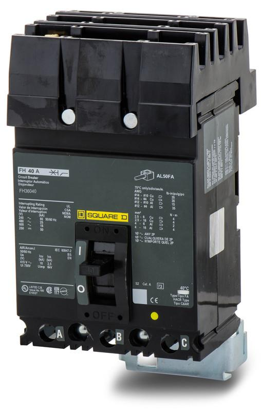 FH36040 - Square D 40 Amp 3 Pole 600 Volt Plug-In Molded Case Circuit Breaker