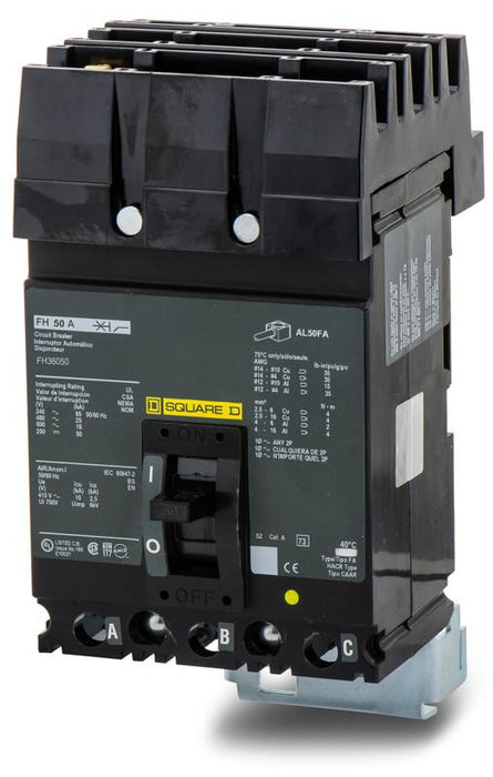 FH36050 - Square D 50 Amp 3 Pole 600 Volt Plug-In Molded Case Circuit Breaker