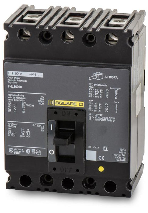 FHL36090 - Square D 90 Amp 3 Pole 600 Volt Lug Molded Case Circuit Breaker