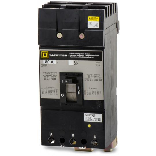 FI36080 - Square D 80 Amp 3 Pole 600 Volt Plug-In Molded Case Circuit Breaker