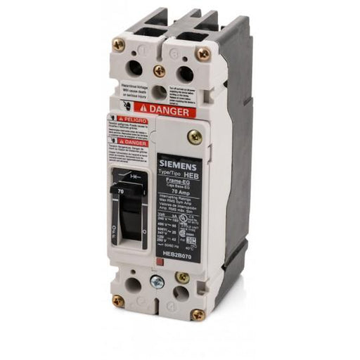 HEB2B070B - Siemens 70 Amp 2 Pole 600 Volt Bolt-On Molded Case Circuit Breaker