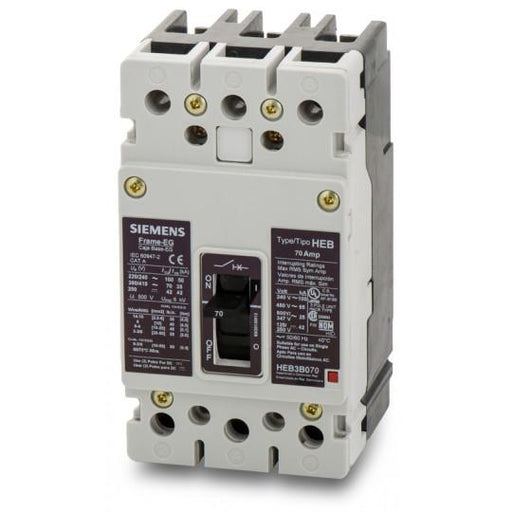 HEB3B070B - Siemens 70 Amp 3 Pole 600 Volt Bolt-On Molded Case Circuit Breaker