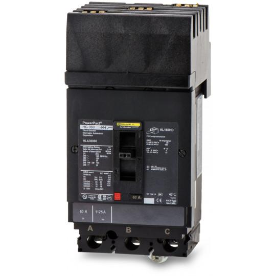 HLA36060 - Square D 60 Amp 3 Pole 600 Volt Plug-In Molded Case Circuit Breaker