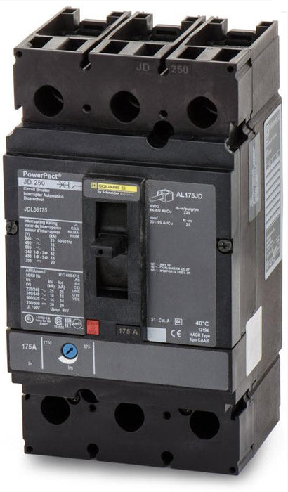 JDL36175 - Square D 175 Amp 3 Pole 600 Volt Molded Case Circuit Breaker