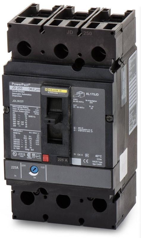 JDL36225 - Square D 225 Amp 3 Pole 600 Volt Molded Case Circuit Breaker