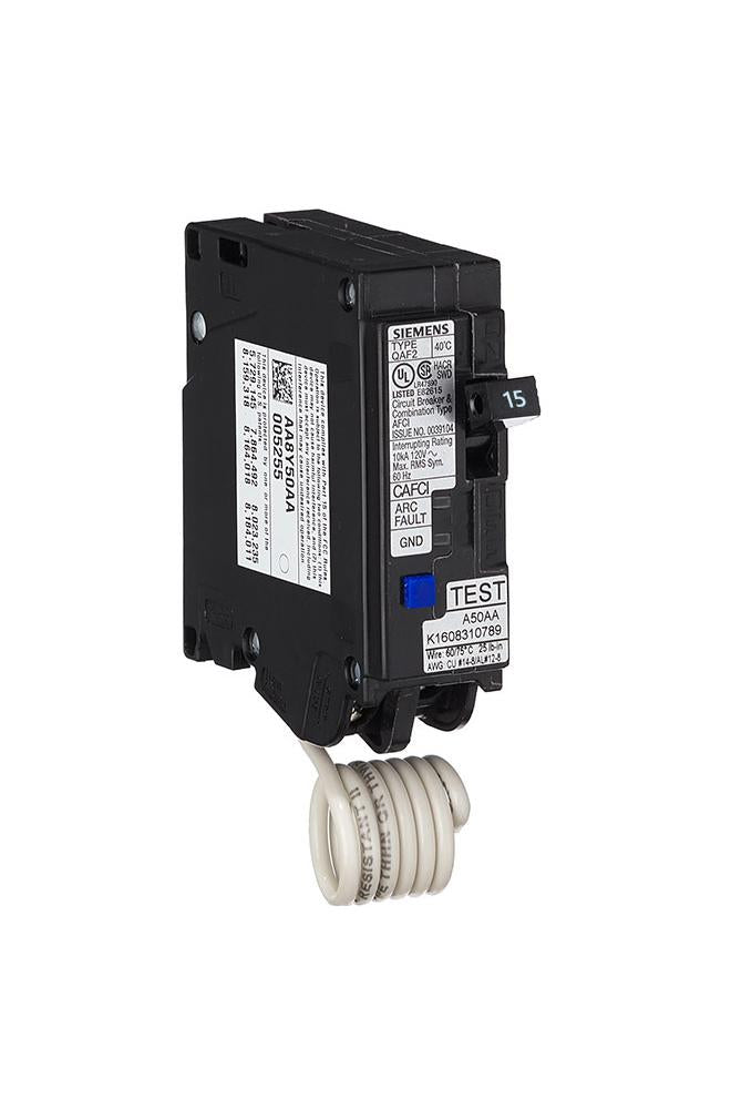 QA115AFC - Siemens 15 Amp Single Pole Arc Fault Circuit Breaker