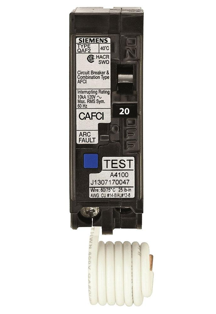 QA120AFCCSA - Siemens 20 Amp Single Pole Combination Arc Fault (AFCI) Breaker