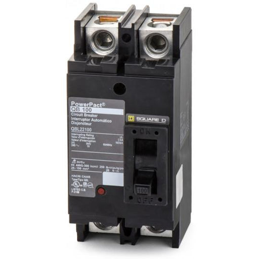 QBL22100 - Square D 100 Amp 2 Pole 200 Volt Thermal Magnetic Molded Case Circuit Breaker