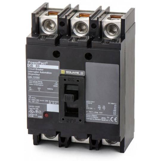 QBL32080 - Square D 80 Amp 3 Pole 240 Volt Thermal Magnetic Molded Case Circuit Breaker