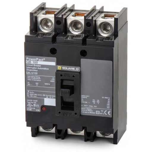QBL32100 - Square D 100 Amp 3 Pole 200 Volt Thermal Magnetic Molded Case Circuit Breaker