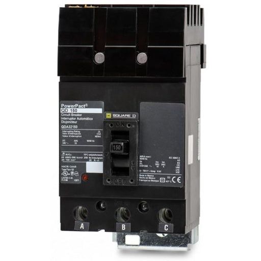 QDA32150 - Square D 150 Amp 3 Pole 240 Volt Molded Case Circuit Breaker