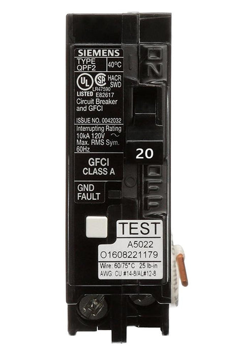 QF120A - Siemens 20 Amp Single Pole GFCI Circuit Breaker