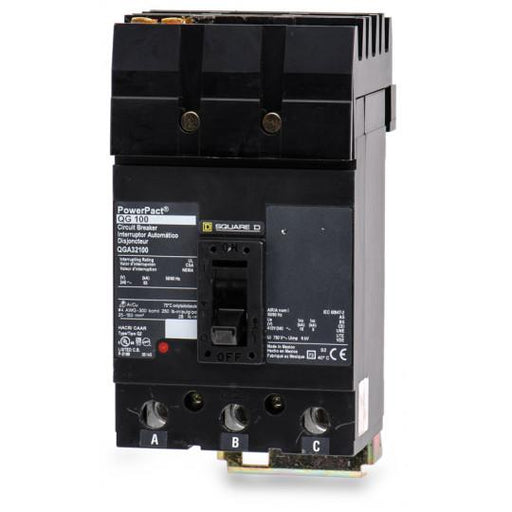 QGA32100 - Square D 100 Amp 3 Pole 200 Volt Plug-In Molded Case Circuit Breaker
