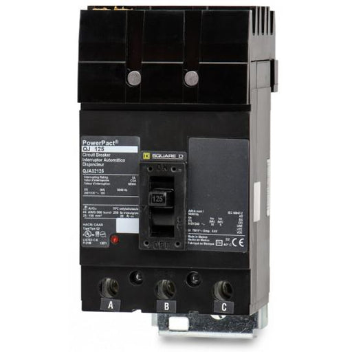 QJA32125 - Square D 125 Amp 3 Pole 200 Volt Plug-In Molded Case Circuit Breaker