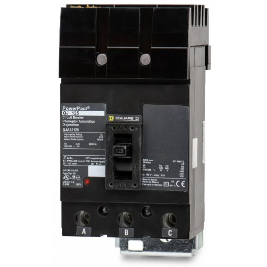 QJA32125 - Square D 125 Amp 3 Pole 240 Volt Plug-In Molded Case Circuit Breaker