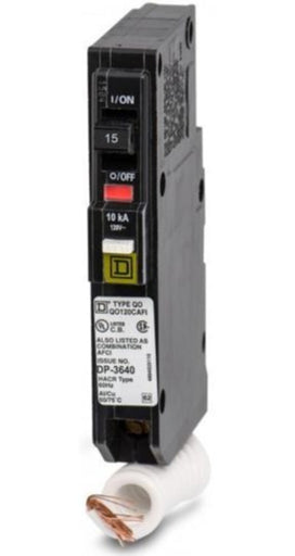 QO115CAFI - Square D 15 Amp Single Pole Combination Arc Fault Circuit Breaker
