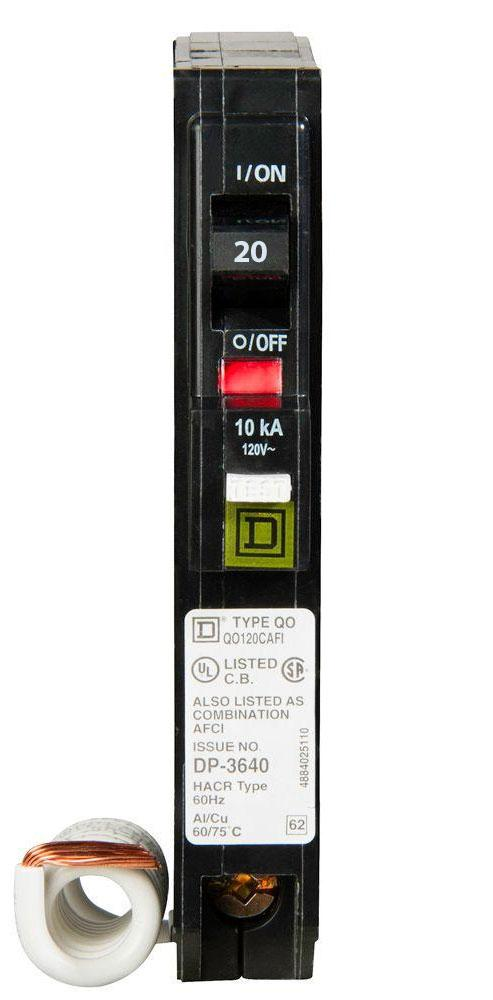 QO120CAFI - Square D 20 Amp Single Pole AFCI Circuit Breaker
