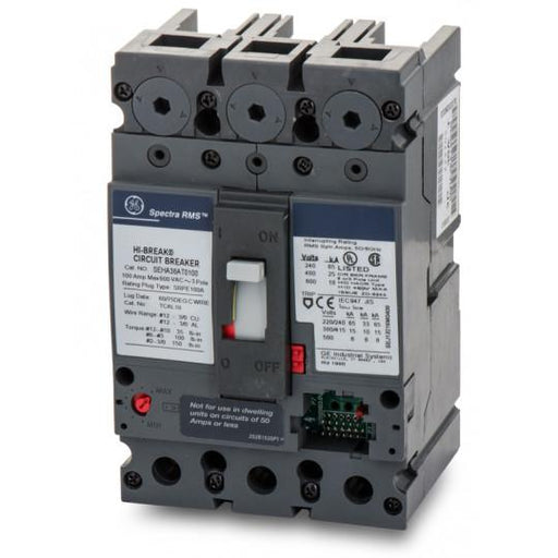 SEHA36AT0100 - GE 100 Amp 3 Pole 600 Volt Bolt-On Molded Case Circuit Breaker