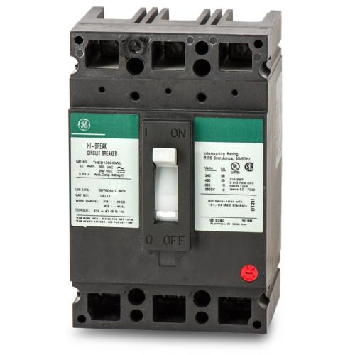 THED136040WL - GE 40 Amp 3 Pole 600 Volt Molded Case Circuit Breaker