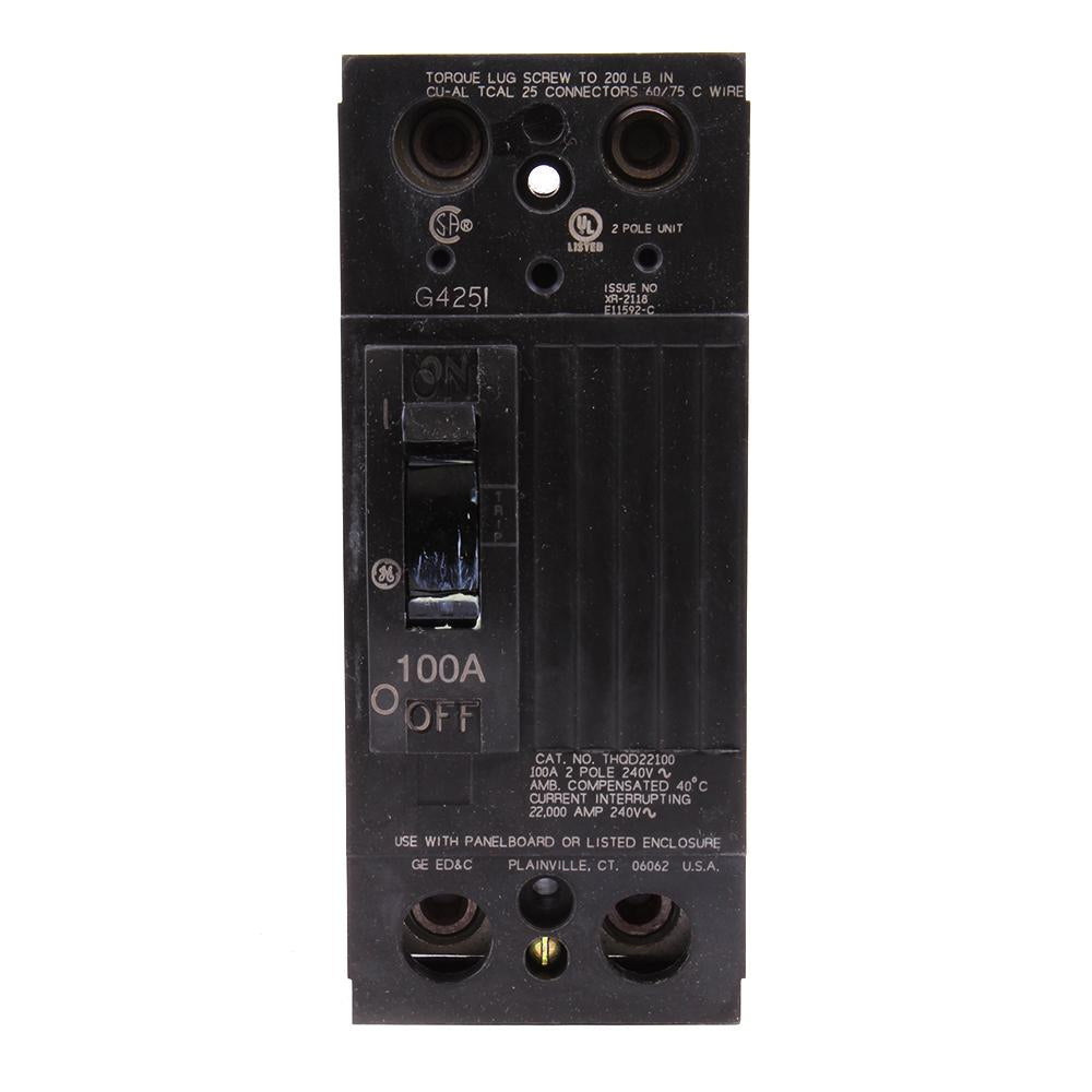 THQD22100WL - GE 100 Amp 2 Pole 240 Volt Thermal Magnetic Molded Case Circuit Breaker