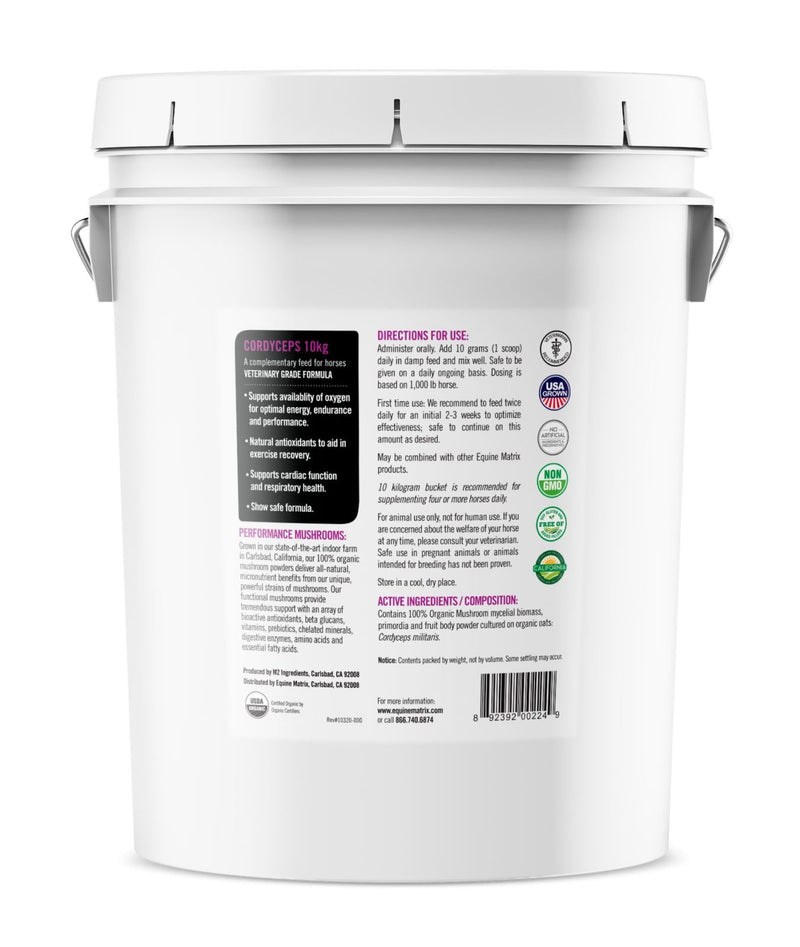 Equine Matrix Cordyceps 10 kg Bucket back label