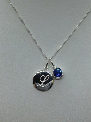 Engraved Initial Pendant with Birthstone